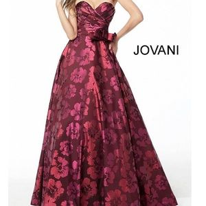 Jovani Wine Floral Ball Gown